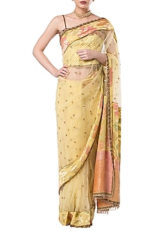 Yellow embroidered saree set by ROCKY STAR