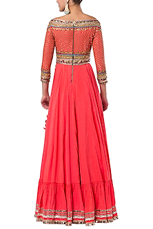 Orange embroidered gown by ROCKY STAR