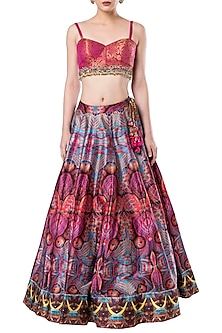 Multicolored embroidered crop top with lehenga skirt by ROCKY STAR