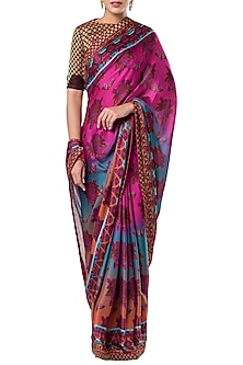 Multicolored printed saree set by ROCKY STAR