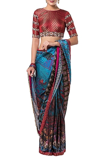 Multicolored embroidered printed saree set by ROCKY STAR