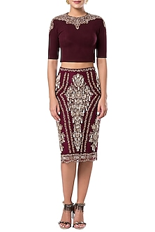 Maroon embroidered pencil skirt by ROCKY STAR
