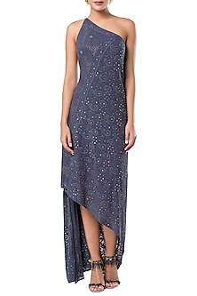 Blue embroidered drape one shoulder dress by ROCKY STAR