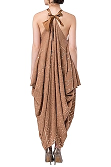 Dusk draped halter dress by ROCKY STAR