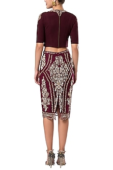 Maroon embroidered crop top by ROCKY STAR