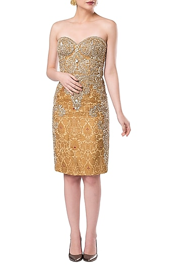 Gold embroidered sheath dress by ROCKY STAR