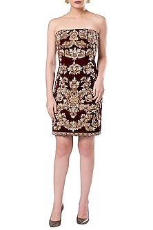 Maroon embroidered strapless dress by ROCKY STAR