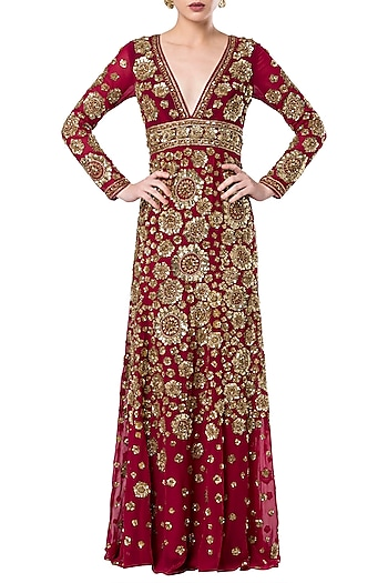 Red embroidered gown by ROCKY STAR
