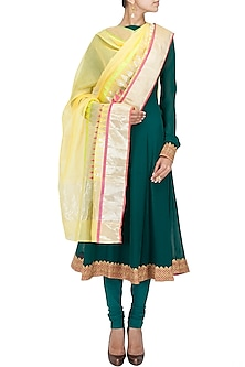 Multicolour temple jaal yellow handwoven dupatta by Rahul Mishra