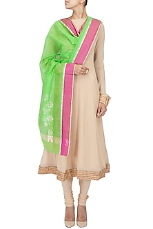 Green and pink flower motif handwoven dupatta by Rahul Mishra