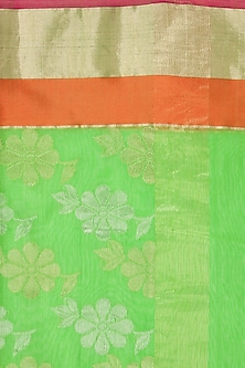 Green and orange flower motif handwoven dupatta by Rahul Mishra