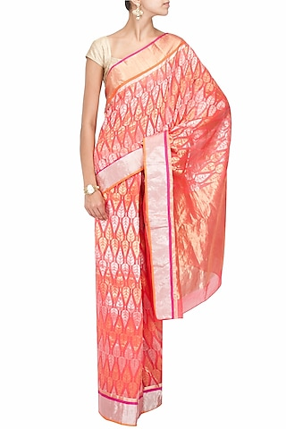 Coral leaf motifs handwoven sari by Rahul Mishra