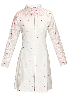 Ivory hand embroidered jacket kurta by Rahul Mishra
