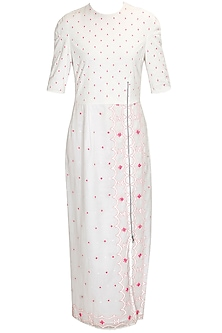Ivory hand embroidered jamdani long dress by Rahul Mishra