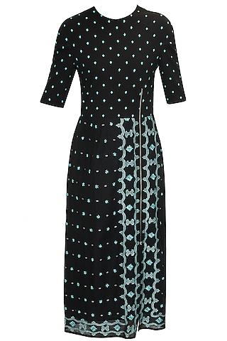 Black hand embroidered jamdani long dress by Rahul Mishra