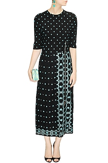 Black hand embroidered jamdani long dress by Rahul Mishra