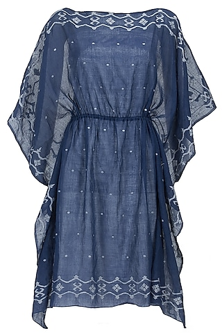 Blue and ivory sheer kaftan dress by Rahul Mishra