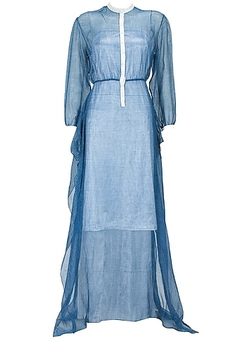 Blue block printed kota sheer drape dress by Rahul Mishra
