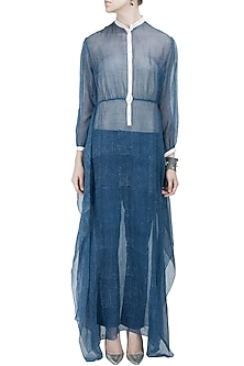 Blue block printed kota sheer drape dress by Rahul Mishra
