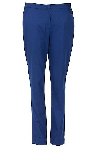 Navy blue handwoven khadi pants by Rahul Mishra