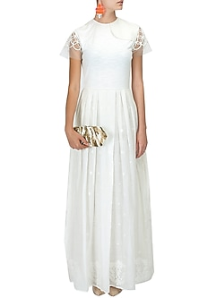 Ivory hand woven jamdani long dress by Rahul Mishra