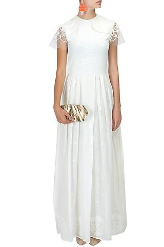 Ivory hand woven jamdani long dress by Rahul Mishra
