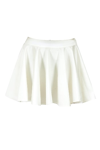 Ivory silk satin skirt by Rahul Mishra