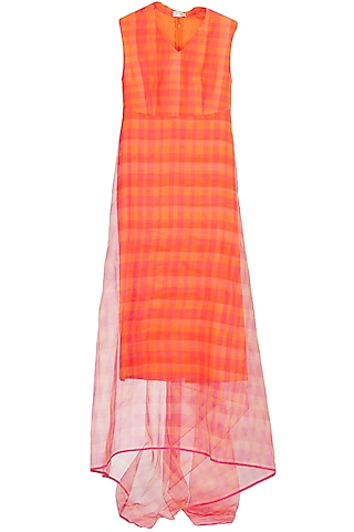 Orange and pink checkered drape dress by Rahul Mishra