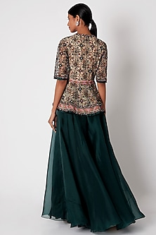 Emerald Green Embroidered Peplum Top With Pants by Ridhi Mehra