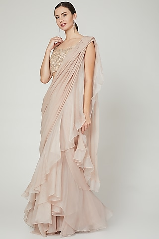 Champagne Ruffled Saree Set by Ridhi Mehra