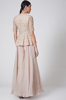 Blush Pink Embroidered Sharara Set by Ridhi Mehra