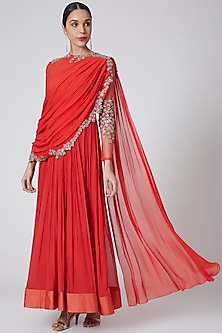 Coral Embroidered Draped Anarkali by Ridhi Mehra