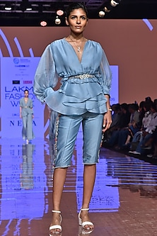 Powder Blue Embroidered Shirt With Shorts & Belt by Ridhi Mehra
