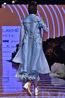 Powder Blue Printed Dress With Trench Coat & Belt by Ridhi Mehra