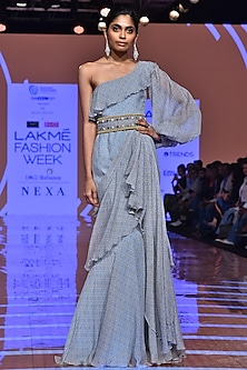Powder Blue Printed Ruffled Dress With Embellished Belt by Ridhi Mehra