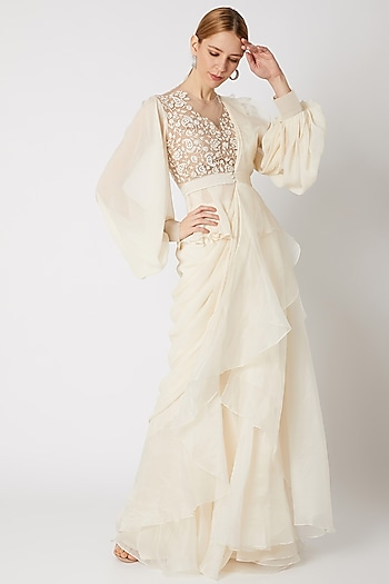 Ivory Embroidered Draped Ruffled Saree Set by Ridhi Mehra