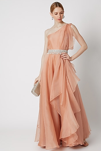 Peach Draped Jumpsuit With Embroidered Belt by Ridhi Mehra