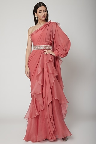 Pink Peplum Draped Saree With Embroidered Belt by Ridhi Mehra