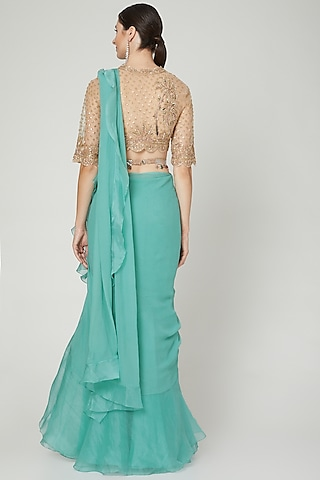 Teal & Champagne Ruffled Saree Set With Belt by Ridhi Mehra