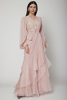 Blush Pink Embroidered Peplum Top With Ruffled Saree by Ridhi Mehra