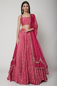 Berry Pink Paisley Printed Lehenga Set by Ridhi Mehra
