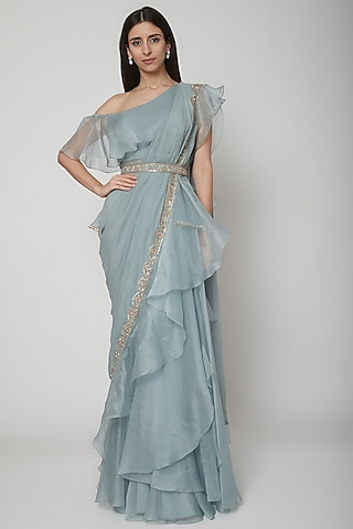 Powder Blue Embroidered Draped Saree Set With Belt by Ridhi Mehra
