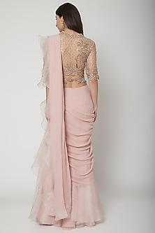 Champagne Gold & Blush Pink Embroidered Draped Saree Set With Belt by Ridhi Mehra