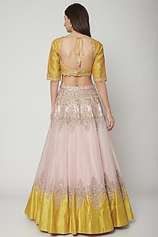 Yellow Embroidered Lehenga Set by Ridhi Mehra