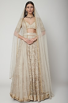 Ivory Embroidered Lehenga Set With Belt by Ridhi Mehra