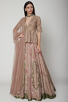 Blush Pink Embroidered Lehenga Set by Ridhi Mehra