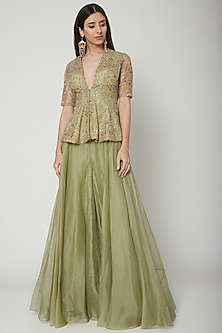 Olive Green Embroidered Peplum Top With Sharara Pants by Ridhi Mehra