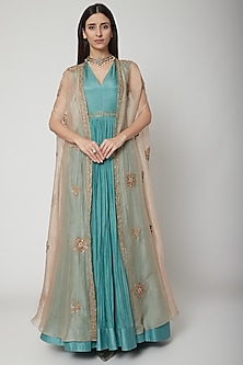 Turquoise Anarkali With Embroidered Cape by Ridhi Mehra
