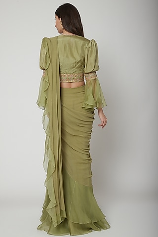 Olive Green Embroidered Draped Saree Set by Ridhi Mehra