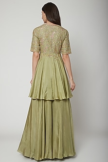 Olive Green Embroidered Sharara Set by Ridhi Mehra